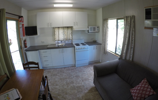 Kestral cabin kitchen and lounge